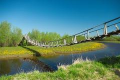 στενό για τους πεζούς σχοινί γεφυρών Στοκ Εικόνες