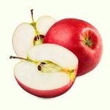στενό επάνω λευκό ανασκόπησης μήλων Στοκ Φωτογραφία