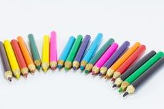 στενό λευκό μολυβιών χρώματος ανασκόπησης επάνω Στοκ φωτογραφία με δικαίωμα ελεύθερης χρήσης