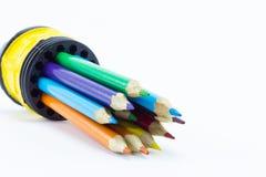 στενό λευκό μολυβιών χρώματος ανασκόπησης επάνω Στοκ Φωτογραφία