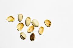 στενό λευκό φυστικιών καρυδιών ανασκόπησης επάνω Στοκ Φωτογραφίες