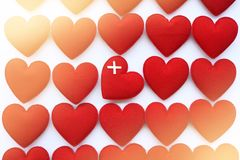 στενό κόκκινο καρδιών επάν&omeg Στοκ φωτογραφία με δικαίωμα ελεύθερης χρήσης