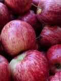 στενό κόκκινο μήλων επάνω σειρά τροφίμων ανασκόπησης μήλων Στοκ Φωτογραφία