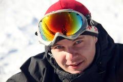 στενό πορτρέτο snowboarder επάνω Στοκ Φωτογραφίες