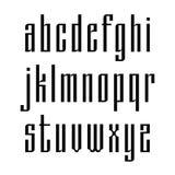 Στενό χωρίς την πηγή πατουρών βασισμένη στην παλαιά σλαβική καλλιγραφία Λατινικά lowercases που απομονώνονται στο άσπρο υπόβαθρο  απεικόνιση αποθεμάτων