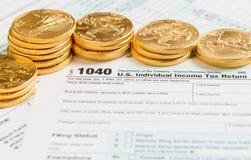 Στερεά χρυσή μορφή 1040 νομισμάτων το 2014 Στοκ Φωτογραφία