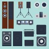 Στερεοφωνική επίπεδη διανυσματική τεχνολογία εξοπλισμού φορέων μεγάφωνων μουσικής εγχώριων ηχητικών συστημάτων subwoofer Στοκ Εικόνες
