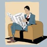 Στερεό άτομο που διαβάζει μια εφημερίδα Στοκ φωτογραφία με δικαίωμα ελεύθερης χρήσης