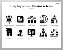 Στερεό πακέτο εικονιδίων υπαλλήλων και επιχειρήσεων διανυσματική απεικόνιση