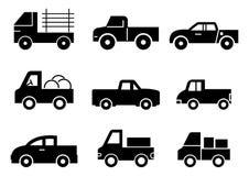 Στερεό σύνολο ανοιχτών φορτηγών εικονιδίων ελεύθερη απεικόνιση δικαιώματος