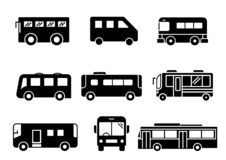 Στερεό σύνολο λεωφορείων εικονιδίων διανυσματική απεικόνιση
