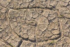 Στεριά, ραγισμένο έδαφος, χωρίς νερό Στοκ Φωτογραφία