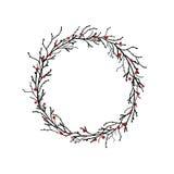 Στεφάνι από τους μαύρους κλάδους και τους κλαδίσκους με τα κόκκινα μούρα Στοκ εικόνα με δικαίωμα ελεύθερης χρήσης