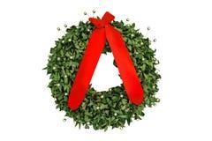 Στεφάνι δαφνών μια αναμνηστική κόκκινη κορδέλλα που απομονώνεται με στο λευκό Στοκ Φωτογραφίες