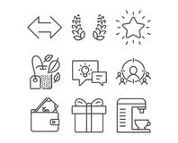 Στεφάνι δαφνών, συγχρονισμός και πυκνά εικονίδια αστεριών Πορτοφόλι, κιβώτιο δώρων και σημάδια λαμπτήρων ιδέας Στοκ εικόνες με δικαίωμα ελεύθερης χρήσης