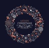 Στεφάνι διακοσμήσεων ελαφιών χαλκού Χαρούμενα Χριστούγεννας διανυσματική απεικόνιση