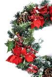 Στεφάνι διακοπών Χριστουγέννων που απομονώνεται στο λευκό με το χιόνι Στοκ Εικόνες