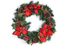Στεφάνι διακοπών Χριστουγέννων στο λευκό Στοκ Φωτογραφία