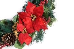 Στεφάνι διακοπών Χριστουγέννων στο λευκό Στοκ φωτογραφία με δικαίωμα ελεύθερης χρήσης