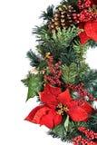 Στεφάνι διακοπών Χριστουγέννων στο λευκό Στοκ Εικόνες