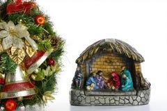 Στεφάνι και σκηνή Nativity Στοκ Εικόνες