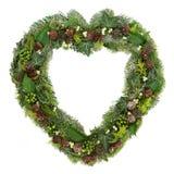 Στεφάνι καρδιών χειμερινών πρασινάδων Στοκ φωτογραφία με δικαίωμα ελεύθερης χρήσης