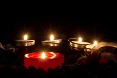 Στεφάνι κεριών Χριστουγέννων Στοκ Εικόνες