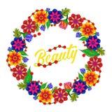 στεφάνι λουλουδιών _ Άσπρη ανασκόπηση απεικόνιση αποθεμάτων