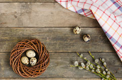 Στεφάνι με τρία αυγά ορτυκιών Στοκ εικόνα με δικαίωμα ελεύθερης χρήσης