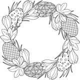 Στεφάνι λουλουδιών άνοιξη των κρόκων και Πάσχας egss Στοιχεία που απομονώνονται διανυσματικά Γραπτή εικόνα για την ενήλικη χαλάρω Στοκ εικόνες με δικαίωμα ελεύθερης χρήσης