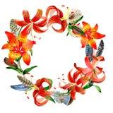Στεφάνι λουλουδιών κρίνων λεοπαρδάλεων Wildflower σε ένα ύφος watercolor που απομονώνεται διανυσματική απεικόνιση