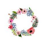 Στεφάνι λουλουδιών Watercolor στοκ εικόνα