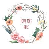 Στεφάνι λουλουδιών Watercolor στοκ φωτογραφία με δικαίωμα ελεύθερης χρήσης