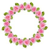 Στεφάνι πλαισίων Rond φιαγμένο από ρόδινα τριαντάφυλλα που απομονώνονται στο άσπρο υπόβαθρο στοκ φωτογραφίες με δικαίωμα ελεύθερης χρήσης
