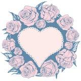 Στεφάνι που διακοσμείται με τα φύλλα, ρόδινα τριαντάφυλλα ελεύθερη απεικόνιση δικαιώματος