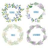 Στεφάνι που τίθεται με τα λουλούδια, χορτάρια, lavendes, κλάδοι δέντρων επίσης corel σύρετε το διάνυσμα απεικόνισης διανυσματική απεικόνιση