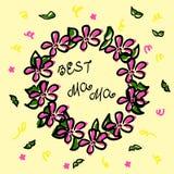 Στεφάνι στο ύφος σκίτσων Μαύρο περίγραμμα και ρόδινο χρώμα Πράσινοι κλάδοι, κομφετί και η καλύτερη μαμά επιγραφής Διάνυσμα doodle ελεύθερη απεικόνιση δικαιώματος