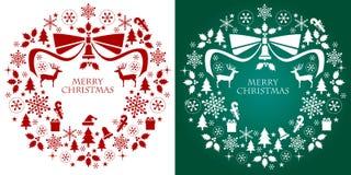 Στεφάνι συλλογής σκιαγραφιών Χριστουγέννων Στοκ Φωτογραφίες