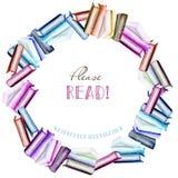 Στεφάνι, σύνορα πλαισίων κύκλων με τα βιβλία watercolor ελεύθερη απεικόνιση δικαιώματος