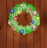 Στεφάνι του νέου έτους από fir-tree τους κλάδους Στοκ Εικόνες