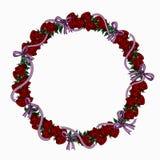 Στεφάνι των κόκκινων τριαντάφυλλων και των ιωδών κορδελλών διανυσματική απεικόνιση