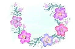 Στεφάνι των λουλουδιών στο ύφος watercolor με το άσπρο υπόβαθρο Στοκ Εικόνες