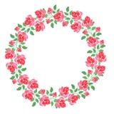 Στεφάνι των τριαντάφυλλων, ζωγραφική watercolor, διακόσμηση, υπόβαθρο, σύσταση Στοκ εικόνες με δικαίωμα ελεύθερης χρήσης