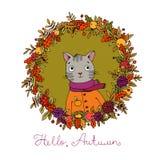 Στεφάνι των φύλλων φθινοπώρου γάτα κινούμενων σχεδίων χαριτωμένη Στοκ Εικόνες
