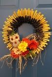 Στεφάνι φθινοπώρου ηλίανθων κουκουβαγιών Στοκ εικόνες με δικαίωμα ελεύθερης χρήσης