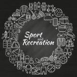 Στεφάνι φιαγμένο από εικονίδια γραμμών Εξοπλισμός αθλητισμού, ικανότητας και αναψυχής Υπαίθριος, τουρισμός και πεζοπορία, Rafting Στοκ Φωτογραφία