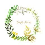 Στεφάνι χορταριών και λουλουδιών Watercolor, διάνυσμα Στοκ Εικόνα