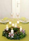 Στεφάνι Χριστουγέννων αναμμένο Στοκ Εικόνες