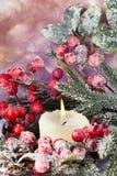 Στεφάνι Χριστουγέννων από τα κόκκινα μούρα, ένα γούνα-δέντρο και τους κώνους Στοκ εικόνα με δικαίωμα ελεύθερης χρήσης