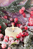Στεφάνι Χριστουγέννων από τα κόκκινα μούρα, ένα γούνα-δέντρο και τους κώνους Στοκ φωτογραφίες με δικαίωμα ελεύθερης χρήσης